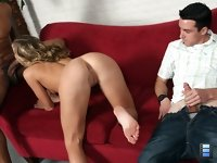 Chastity Lynn: The interracial sex going on before Chip was enough to get his tiny tool semi-stiff as he beat his meat..