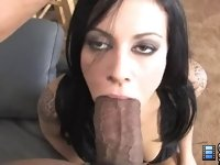 Once she sees Shane's monster black log, and compares it to her boyfriend's cocktail weenie, she is ready to try out this cuckold thing.