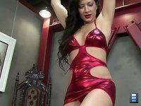 When he saw her in her sexy red dress and high heels, he begged to try going under her for some trampling.