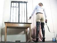 Belted And Booted: It is impossible to him to resis Her power. He knows it. She knows it. So why bother? There is no escape. Moreover, he knows very well that any resistance to her deisres will be punished severely and mercilessly.