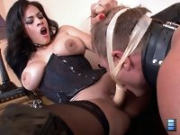 Double Fuck: Goddesses Brianna and Jamie Valentine are both horny. They are insatiable, exhausting the slave, pleasuring Jamie while Brianna fucks his ass.